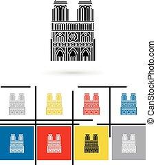 Notre Dame de Paris icon vector - Notre Dame de Paris icon...