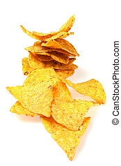 Tortilla chips slices isolated on white background