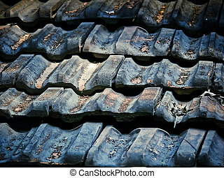 Traditional sloping roof made with Manglori tiles,...