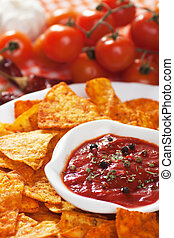 Tortilla chips with hot salsa dip - Tortilla chips with hot...