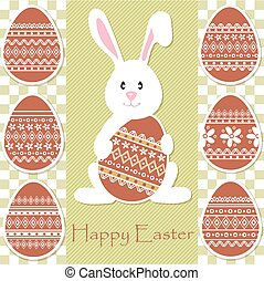 Easter rabbit holding an egg