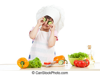 Funny cook child girl cooking at kitchen isolated