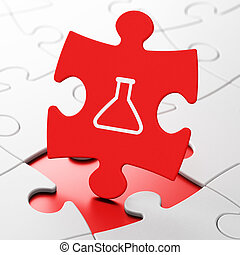 Science concept: Flask on puzzle background - Science...