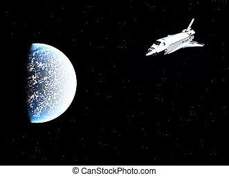 Space Shuttle Over Planet