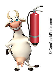 Caw cartoon character with fire extinguisher - 3d rendered...
