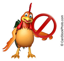 chiken cartoon character with stop sign - 3d rendered...