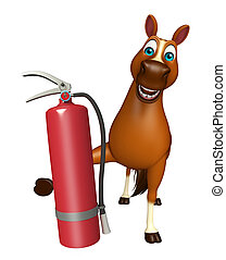 Horse cartoon character with fire extinguisher - 3d rendered...