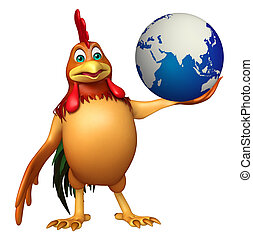 chiken cartoon character with earth - 3d rendered...