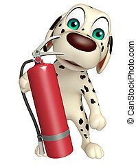 Dog cartoon characte with fire extinguisher - 3d rendered...