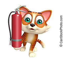 cat cartoon character with fire extinguisher - 3d rendered...