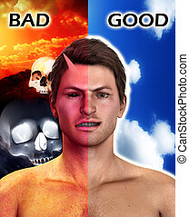 Good And Bad - Conceptual image about being an Angel or a...