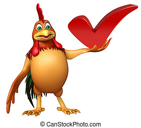chiken cartoon character with right sign - 3d rendered...
