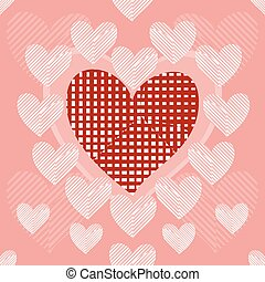 Seamless background of stylish patchwork hearts - Big red...