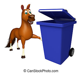 Horse cartoon character with dustbin - 3d rendered...