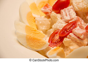Boiled Egg Salad with tomatoes