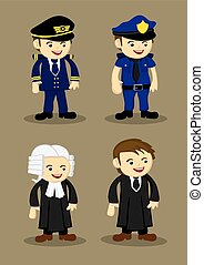 Pilot Policeman Judge and Lawyer Vector Illustration -...