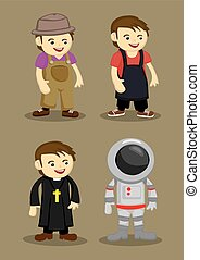 Farmer Kitchen Helper Priest Astronaut Vector illustration -...