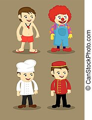 Life Guard Clown Chef Bellboy Vector Illustration - Life...