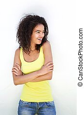 Young mixed race woman laughing