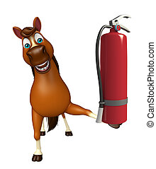 cute Horse cartoon character with fire extinguishing - 3d...