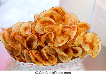 Butterfly Fries - Hot butterfly fries sit in a vendors...