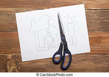lei, família, Divórcio, conceito,  legal, corte, papel, meios, tesouras, propriedade, seção