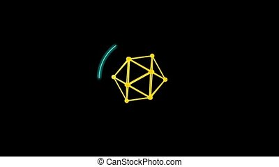 Circle loading bar. The three-dimensional lattice in the form of a polyhedron. Rays of light from the center. Video with separate alpha channel.