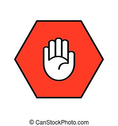Stop sign Open palm in red octagon Pass prohibited