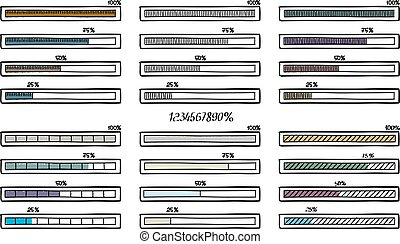 Mega set of hand-drawn vector doodle progress bar