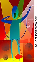 Illustration of a singing man. - The artist is feeling the...