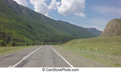 Travel by car on the Chuysky Trakt in Altai Mountains -...