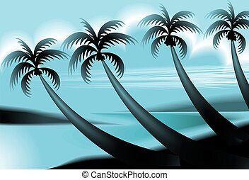 coconut tree - Digital painting of sea and coconut tree in...