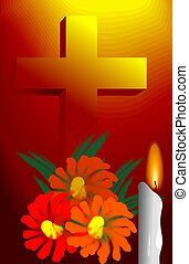 Illustration of flower, cross symbol and candle light.