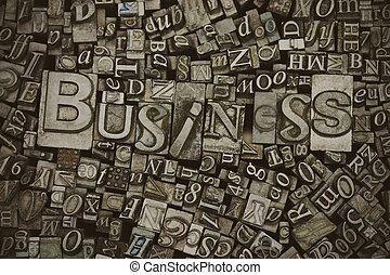 Close up of typeset letters with the word Business - Close...