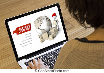 woman computer express delivery - marketing online concept:...