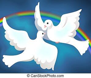 Ilustracja, dwa, gołąb, przelotny, niebo