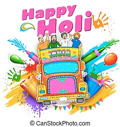 Happy Holi Background - illustration of people of different...