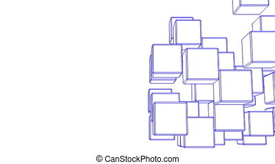 Blue Wire Frame Cube Abstract - Loop Able Blue Wire Frame...