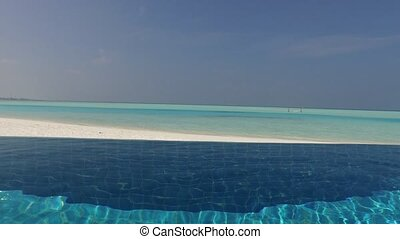 swimming pool with fresh water on maldives beach - travel,...