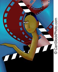 film role - Illustration of woman and film role