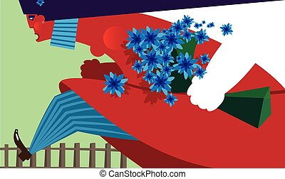 Cartoon female with flowers - Girl with blue flowers running...