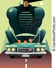 Man in retro car on the road - Vector illustration on white...