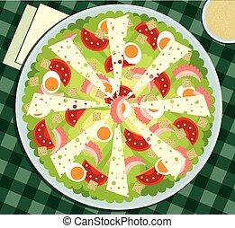Caesar salad on the tablecloth