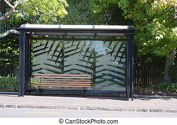 Empty bus shelter - Empty suburban bus stop shelter and...