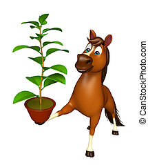 fun Horse cartoon character with plant - 3d rendered...