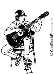 young man sitting on the acoustic guitar plays music