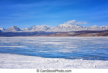 East Sayan from Hovsgol Lake . Mongolia