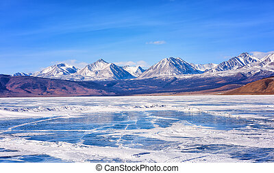 View of Sayan Mountains from Hovsgol Lake Mongolia - View of...