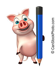 cute Pig cartoon character with pencil - 3d rendered...