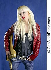 blond sexy fashion young girl electric guitar rock star blue...